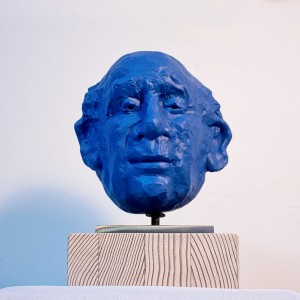 portrait of old man, polychrome terracotta (blue) by Ellen Scobie, Vancouver Sculpture Studio