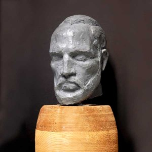 Self-portrait in clay by Riley Baechler, Vancouver Sculpture Studio