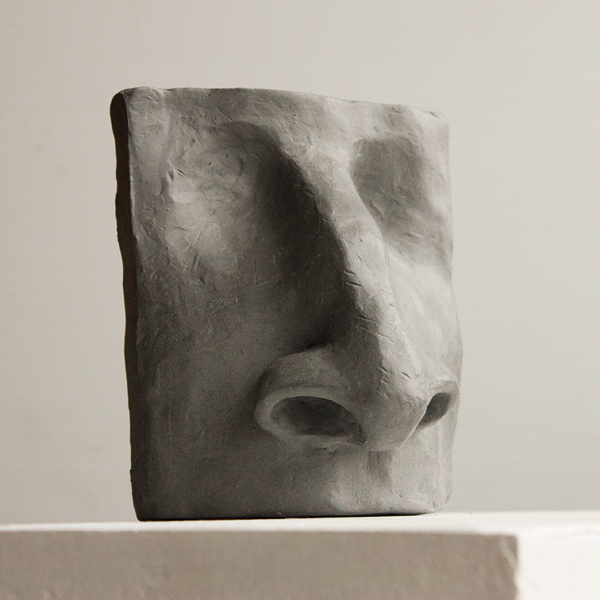 "Nose sculpture, Student work from the Vancouver Sculpture Studio ""Introduction to Sculpting the Face"" class"