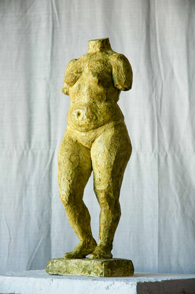 sculpture of standing female figure by Geemon Xin Meng, polychrome terracotta