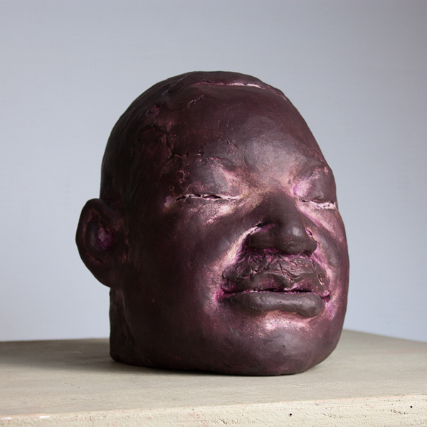 painted finish on portrait head by Geemon Xin Meng, polychrome terracotta