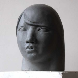 Portrait head of young girl, clay, by Dong Shin Park, Vancouver Sculpture Studio